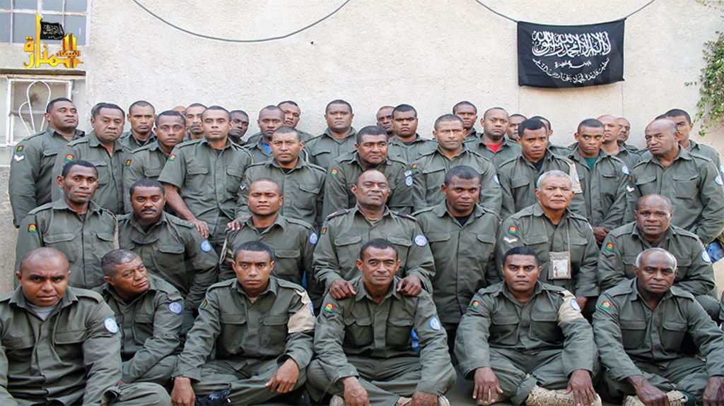Undated image, attached in a statement released on August 30, 2014, on the Hanin Network website, a militant website, shows Fijian UN peacekeepers who were seized by the Nusra Front on August 28, 2014 (photo credit: AP/Hanin Network Website, File)