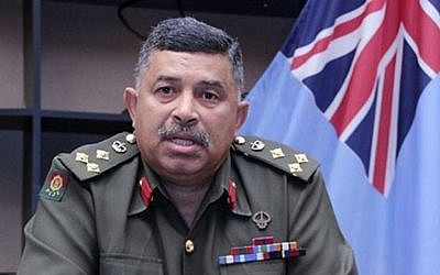 In this September 2, 2014 photo provided by Fiji's Ministry of Information, Fiji's military commander Brig. Gen. Mosese Tikoitoga speaks about the capture of 45 Fiji troops in Syria during a press conference at the military headquarters in Suva. (photo credit: AP/Fiji's Ministry of Information)