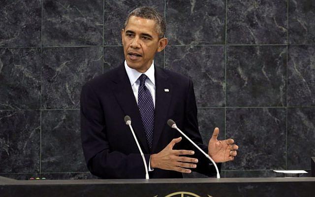 US President Barack Obama at the UN in 2013. (photo credit: AP Photo/Richard Drew, File)