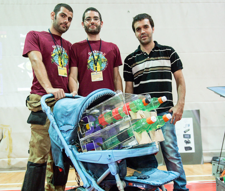 GeekCon's 'political' project - the UNRWA Autonomous Baby Carriage, complete with firing missiles (Photo credit: Tal Douek)