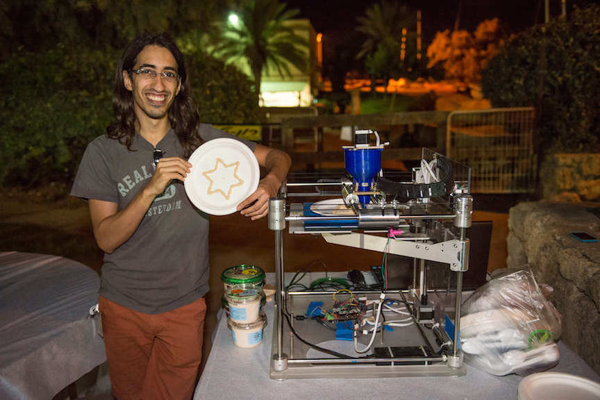 The 'Hummus Printer,' which uses a favorite Israeli food to print out 3D objects (Photo credit: Tal Douek)