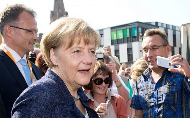 German Chancellor Angela Merkel on Saturday, September 6, 2014 (Photo credit: AP/DPA/Bernd von Jutrczenka)
