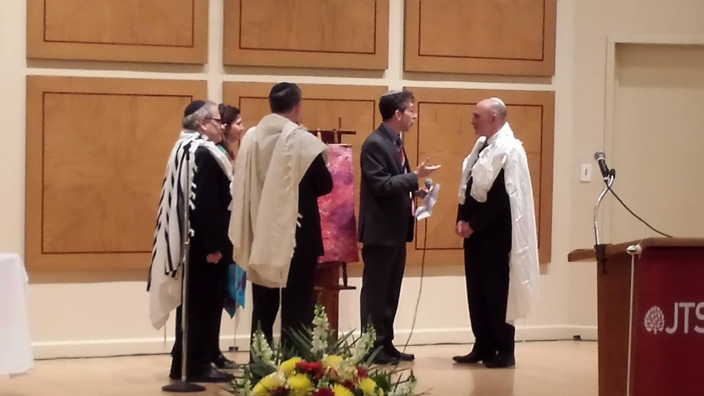 Goldstein (far right) at his ordination. (photo credit: courtesy Mikie Goldstein)