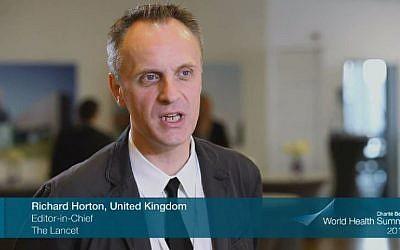 Richard Horton, editor of the British medical journal The Lancet. (screen capture: YouTube/World Health Summit)