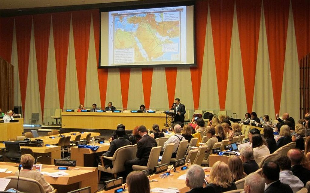 Mark Langfan, Arutz Sheva UN Correspondent/Security Analysis presents strategic map at UN conference on Global Anti-Semitism. (Cathryn J. Prince/The Times of Israel)