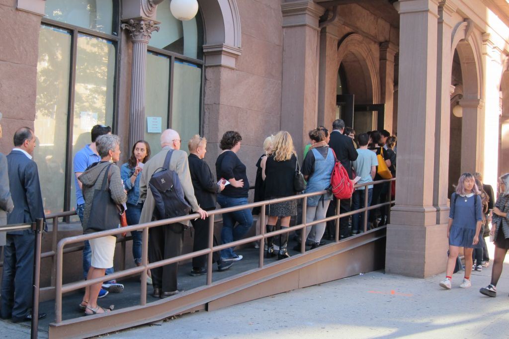 The line waiting to go through security at Cooper Union Monday, September 22, 2014 ahead of Palestinian Authority Mahmoud Abbas' address. (Cathryn J. Prince/The Times of Israel)