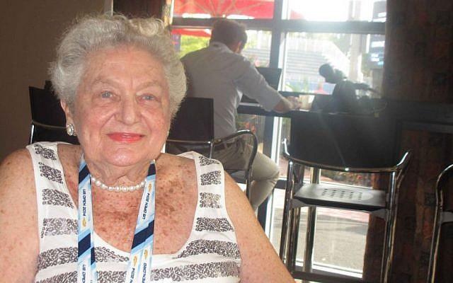 Tennis champion Angela Buxton (Howard Blas/The Times of Israel)