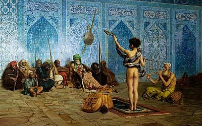 The cover of Edward Said's Orientalism contained a detail from the 19th-century Orientalist painting The Snake Charmer, by Jean-Léon Gérôme (1824–1904). (PD via Wikipedia)