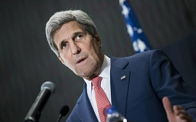 US Secretary of State John Kerry speaks during a joint press conference with Egyptian Foreign Minister Sameh Shukri in Cairo, Egypt, on Saturday, Sept. 13, 2014. (photo credit: AP/Brendan Smialowski, Pool)