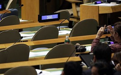 The empty seats of the Israel delegation to the UN as President Palestinian Authority Mahmoud Abbas addresses the 69th session of the United Nations General Assembly, Sept. 26, 2014. (AP/Richard Drew)