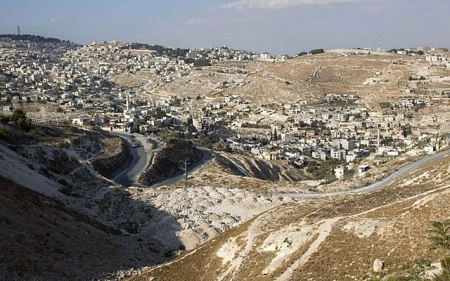 The area where the Jerusalem municipality approved a master plan for the Arab neighborhood of Arab al-Sawahira in the city's southeast (Photo credit: Sebastian Scheiner/AP)