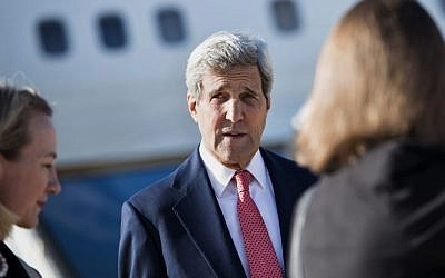 US Secretary of State John Kerry, September 10, 2014  (photo credit: AP Photo/Brendan Smialowski, Pool)