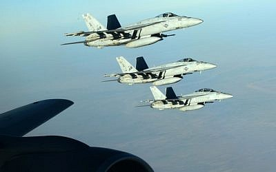 Illustrative: US Navy F-18E Super Hornets flying over northern Iraq as part of the US-led coalition airstrikes against the Islamic State and other targets, September 23, 2014. (AP/US Air Force, Staff Sgt. Shawn Nickel)