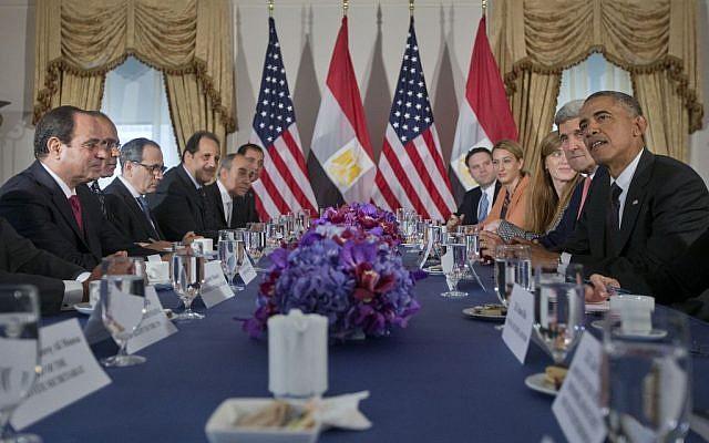 US President Barack Obama meets with Egyptian President Abdel Fattah el-Sisi, left, Thursday, September 25, 2014, in New York. (photo credit: AP/Pablo Martinez Monsivais)