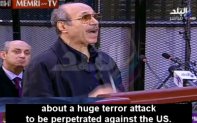 Former Egyptian interior minister Habib Al-Adly, speaking about the 9/11 attacks, during his trial in Cairo in August 2014. (photo credit: screen capture)