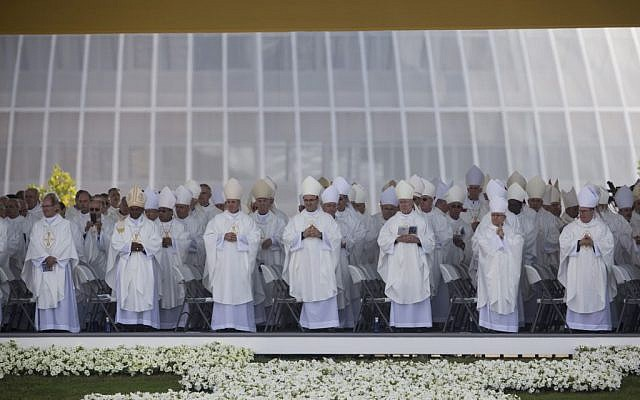 Priests and Bishops take part during a beatification ceremony in Madrid, Spain, Saturday Sept. 27, 2014 (photo credit: AP/Santi Palacios)