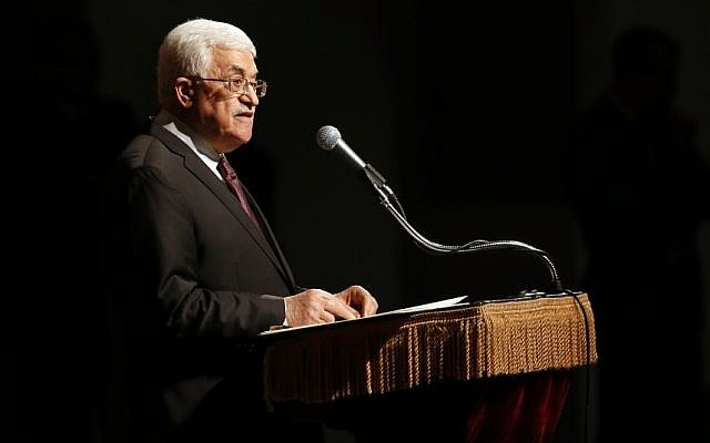 Palestinian Authority President Mahmoud Abbas delivers a speech at Cooper Union, Monday, Sept. 22, 2014, in New York. (Photo credit: AP/Jason DeCrow)