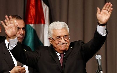 Palestinian Authority President Mahmoud Abbas after delivering a speech at Cooper Union in New York, September 22, 2014. (photo credit: AP/Jason DeCrow)