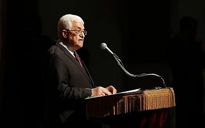 Palestinian President Mahmoud Abbas delivers a speech at Cooper Union, Monday, Sept. 22, 2014, in New York. (photo credit: AP Photo/Jason DeCrow)