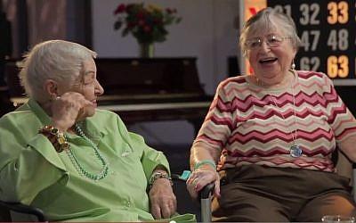 Yetta Dorfman and Charlotte Seeman of the Lost Angeles Jewish Home enjoy talking about Yiddish words. (YouTube screenshot)