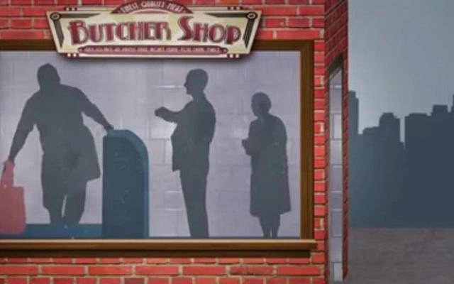 The video's story of the destructive power of gossip  begins innocently in a butcher shop. (YouTube screenshot)