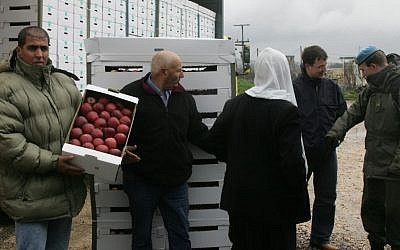 Druze farmers export apples from Israel to Syria at the Quneitra border crossing in 2007. The trade was not possible this year. (photo credit: Flash90)