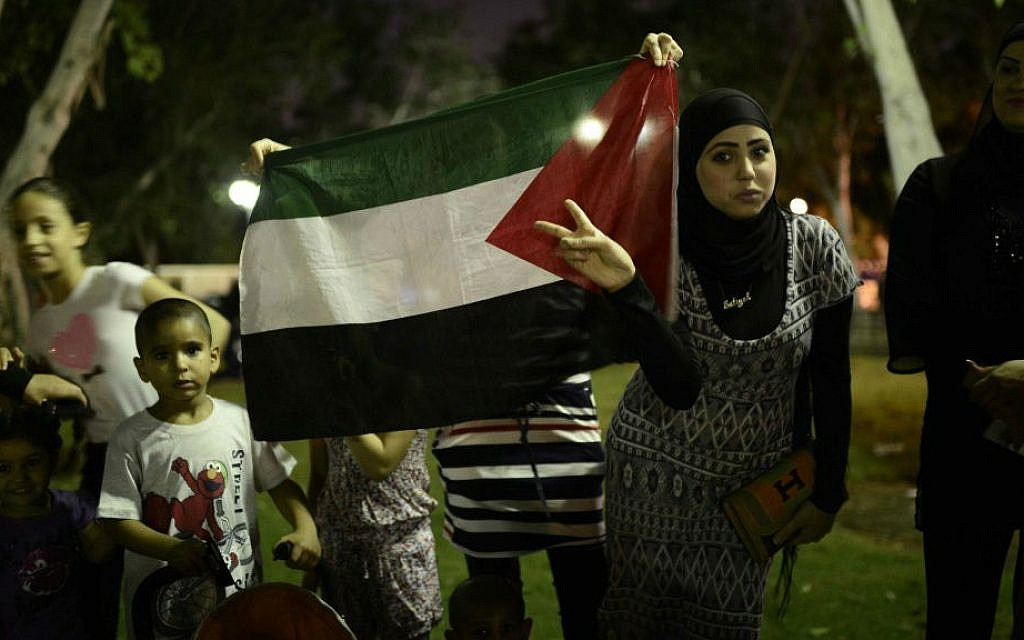 Arab-Israelis protesting Israel's Gaza operation hold the Palestinian flag at the demonstration in the central Israeli city of Jaffa, near Tel Aviv, July 21, 2014 (photo credit: Tomer Neuberg/Flash90)