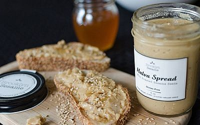 Brooklyn Sesame's spreads come in six varieties including pistachio, cocoa, black caraway seeds and toasted coconut. (Julien Zeitouni/JTA)