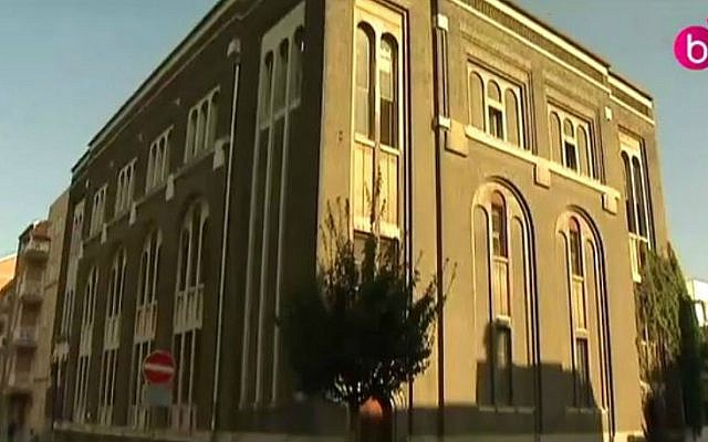 A synagogue in the Anderlecht neighborhood of Brussels, Belgium, that was targeted by arsonists, September 15, 2014. (screen capture: YouTube/Télé Bruxelles)