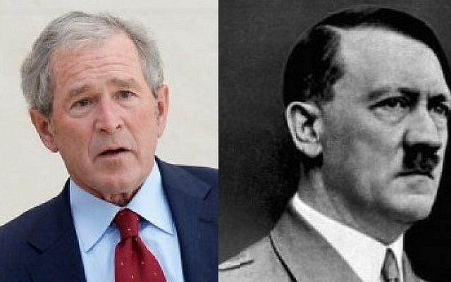 Former US president George W. Bush (L) and Adolf Hitler (R) (photo credit: Getty Images/JTA and German Federal Archive/Wikimedia Commons)