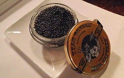 The Saint Petersburg company Tzar Caviar used molecular engineering to produce a kosher caviar substitute now available in New York and Paris. (Courtesy Tzar Caviar/JTA)