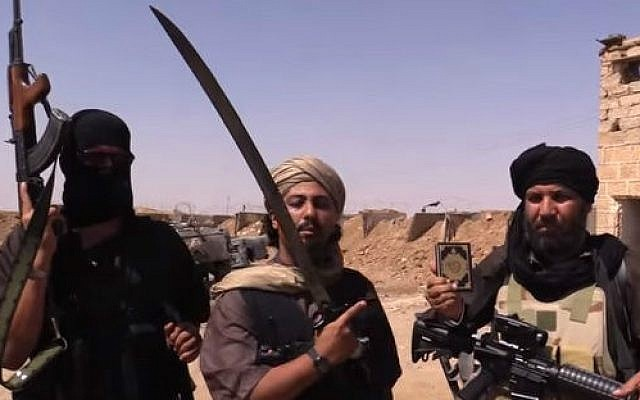 Undated photo of Islamic State fighters near the border between Syria and Iraq (screen capture: YouTube/Vice)