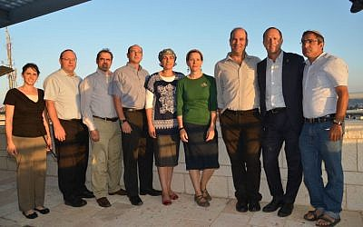Jerusalem Mayor Nir Barkat with the Families of Eyal Yifrach, Naftali Fraenkel and Gil-ad Shaar announce memorial prize (Photo credit: courtesy)