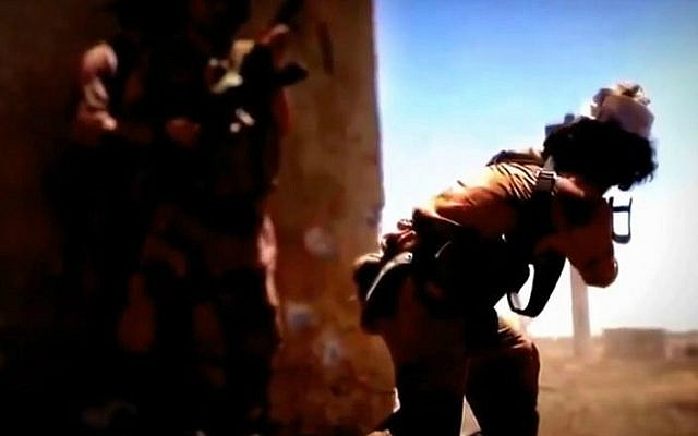 A screenshot for the trailer of 'The Flames of War' a propaganda movie to be released by the Islamic State. (photo credit: YouTube screenshot)