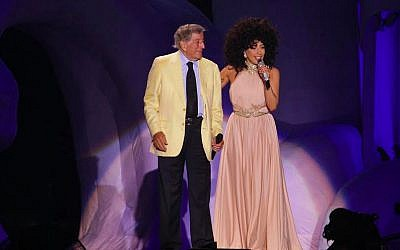 Lady Gaga and Tony Bennett on stage in Tel Aviv, Sept. 13, 2014. (photo by Shooka Cohen)