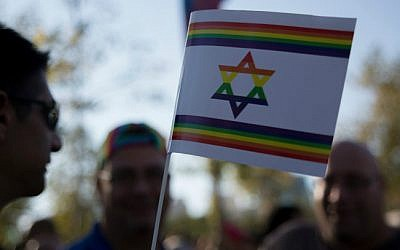 Illustrative: Israelis take part in the annual Gay Pride Parade in Jerusalem on August 1, 2013. (photo credit: Sarah Schuman/Flash90)