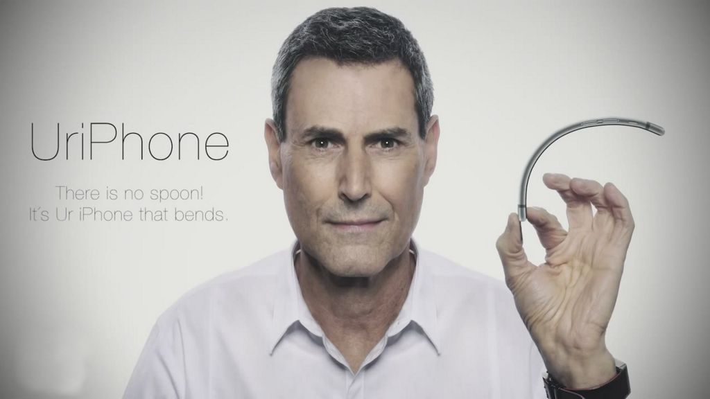 Uri Geller offers his psychic and punning services to Apple (screen capture: YouTube)