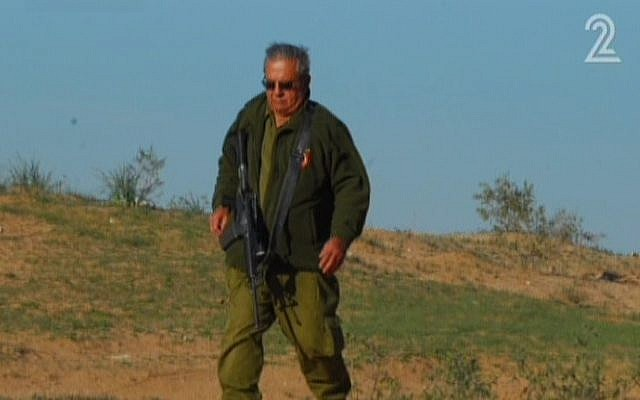 Nahum 'Nahche' Gilboa, 77, is the oldest combat reservist to ever serve in the IDF. (screen capture: Channel 2)