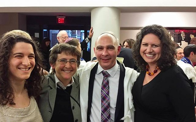 Rabbi Mikie Goldstein is flanked at his ordination by (L-R): Ruhi Sophia Rubenstein, a fellow rabbinical intern at CBST; Rabbi Sharon Kleinbaum, senior rabbi of CBST; and Rabbi Rachel Weiss, assistant rabbi at CBST. (photo credit: Courtesy Mikie Goldstein)