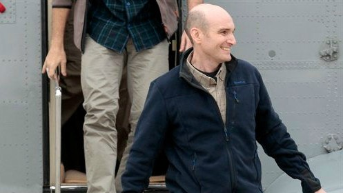 Released French hostage Nicolas Henin arrives at the Villacoublay military airbase, outside Paris, Sunday April 20, 2014 (photo credit: AP/Jacques Brinon, file)