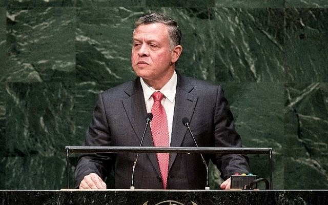 NEW YORK, NY - SEPTEMBER 24: King of Jordan Abdullah II Ibn Al Hussein speaks at the 69th United Nations General Assembly at United Nations Headquarters on September 24, 2014 in New York City.  (photo credit: Andrew Burton/Getty Images/AFP)