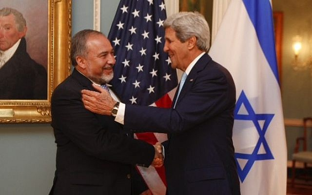 Avigdor Liberman, left, and John Kerry meeting in Washington on Wednesday, September 18, 2014. photo credit: Jordan Silverman/Foreign Ministry)