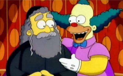 Rabbi Krustofski (L) and son Krusty the Clown. (photo credit: YouTube screen capture)