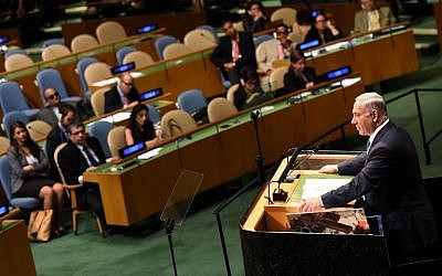 Prime Minister Benjamin Netanyahu addresses the 69th session of the United Nations General Assembly September 29, 2014 at the United Nations in New York. (AFP PHOTO/Don Emmert)