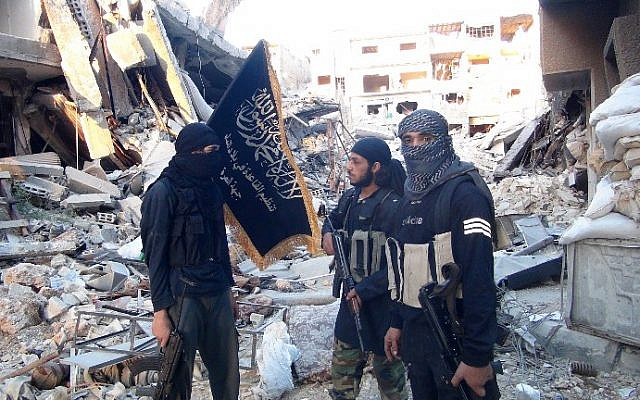 Illustrative photo of fighters from the al-Qaeda-linked Nusra Front near Damascus, Syria, on September 22, 2014. (AFP/Rami al-Sayed)