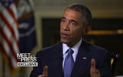President Barack Obama on NBC's 'Meet the Press' (photo credit: NBC, screen capture)