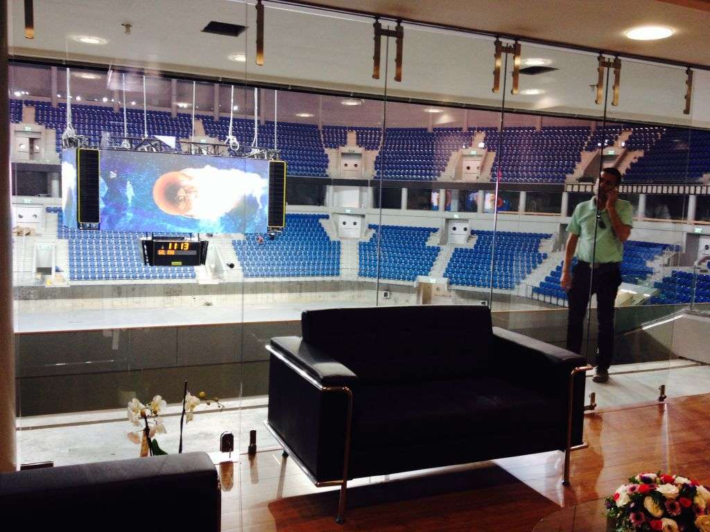 One of the completed VIP rooms at the new stadium (photo credit: Jessica Steinberg/Times of Israel)