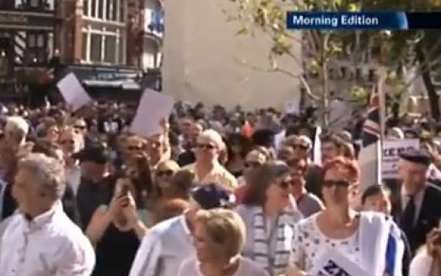 Thousands rally against anti-Semitism in central London (photo credit: Youtube screenshot)