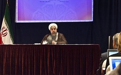 Iran's President Hassan Rouhani speaks at a press conference in New York, on Friday, September 26, 2014. (photo credit: AP/Bebeto Matthews)