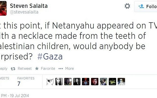 Screenshot of a tweet sent out by Steven Salaita, which he later took down.